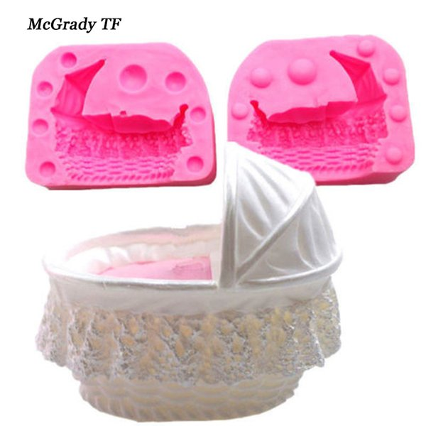 3D Baby Kid Crib Bassinet Cradles Carriage Car Silicone Mold Cake Mould Fondant Tools Decorating Mold Cake Decorating Tools .