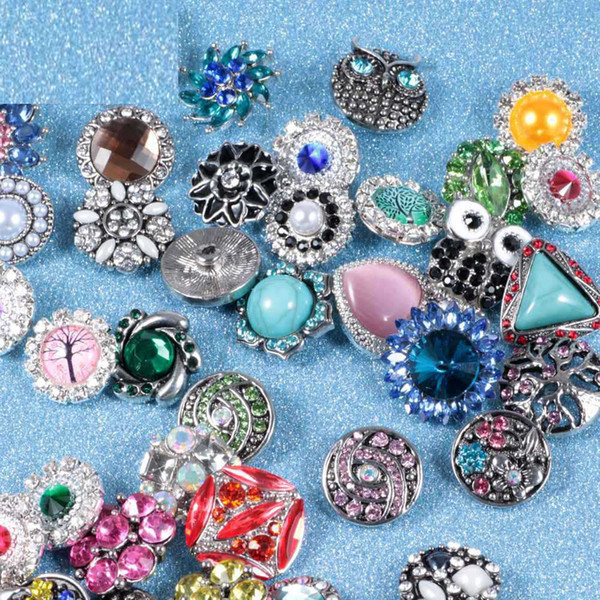 18MM Crystal Snap Cham Button Interchangeable Diy Ginger Snap Jewelry Fit Snap Charm Noosa Bracelet Necklace Pendant Ring Belt Scarf Chunks