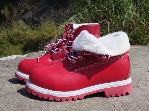 11e593a5417894 Grossista Clássico das mulheres inverno Timber roll top botas de lã vermelho  branco aquecimento sapatos ao