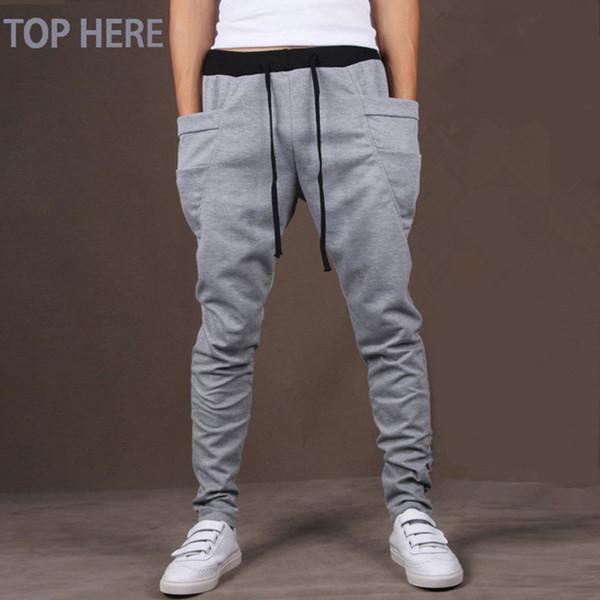 Men Casual Pants Cool Design Moletom Big Pocket Top Here Brand Clothing Army Trousers Hip Hop Harem Pants Mens Joggers 8 Colors