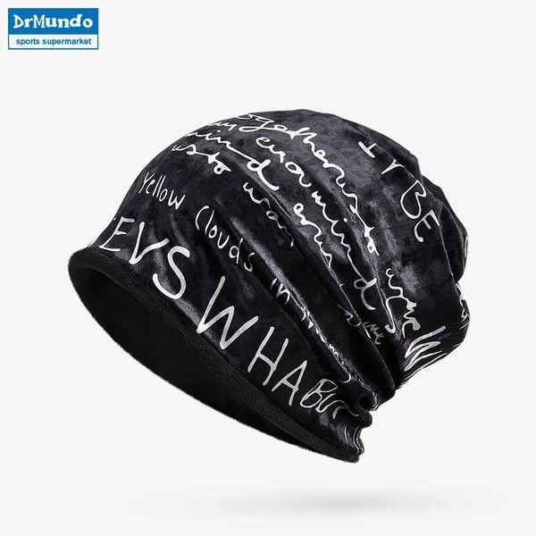 Winter Sport Ski Face Mask Fleece Beanie Hats Warm Letter Velvet Outdoor Cycling Snow Bibs Cap Women Bonnet Hat Mask Scarf