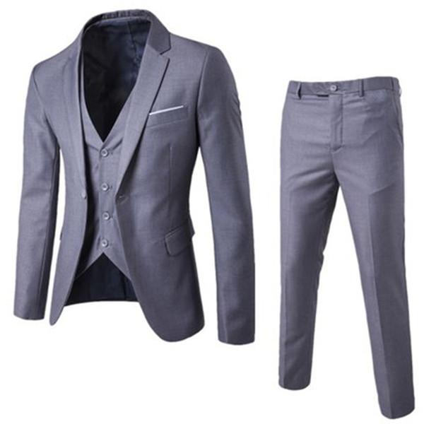 2018 Mens Suits 3 Pieces Button Fly Groom Wedding Suits For Men Slim Formal Male Suit Business Plus Size 3Xl Black