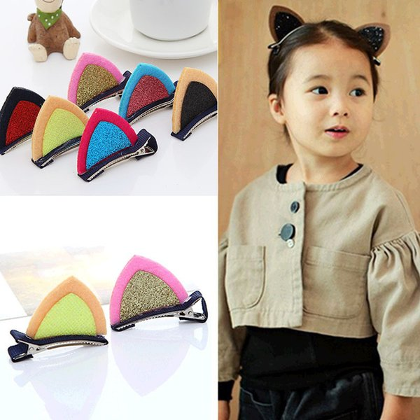 10Pcs Children's Hair Barrettes Accessories Stereo Cat Ears Shiny Piece Gril Hair Barette Hairpin Cute Baby Duckbill Clip