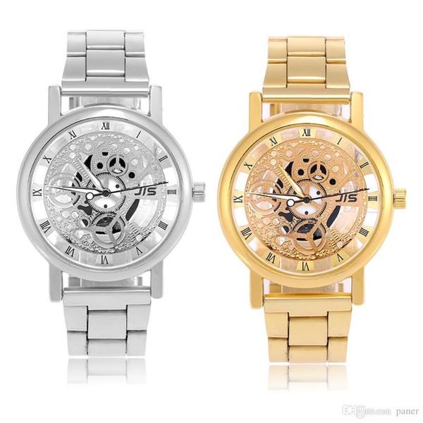 7704a16c450c Новый JIS кварцевые аналоговые наручные часы круглый сплав ремешок большой циферблат  часы Наручные часы серебряный ремешок