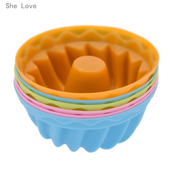 donut mold She Love 6pcs Silicone Pudding Cupcake Muffin Donut Mold Baking Jelly Mould Random Color