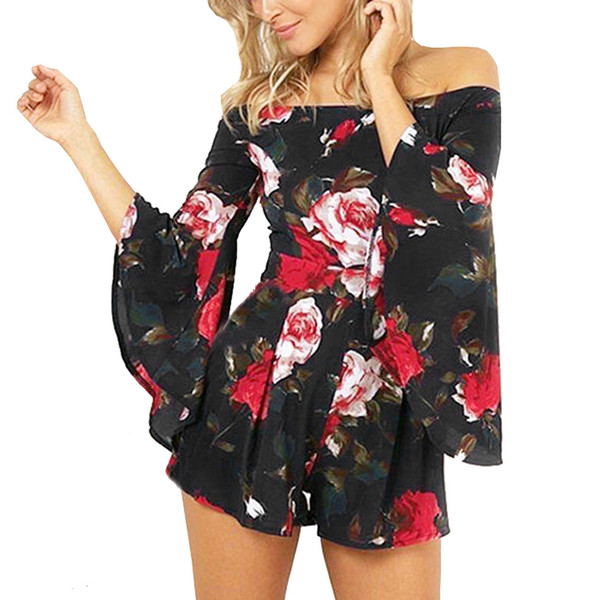 Off Shoulder Sexy Jumpsuit Women Fashion Floral Print Summer Playsuit Flare Sleeve Ladies Casual Boho Rompers Overalls