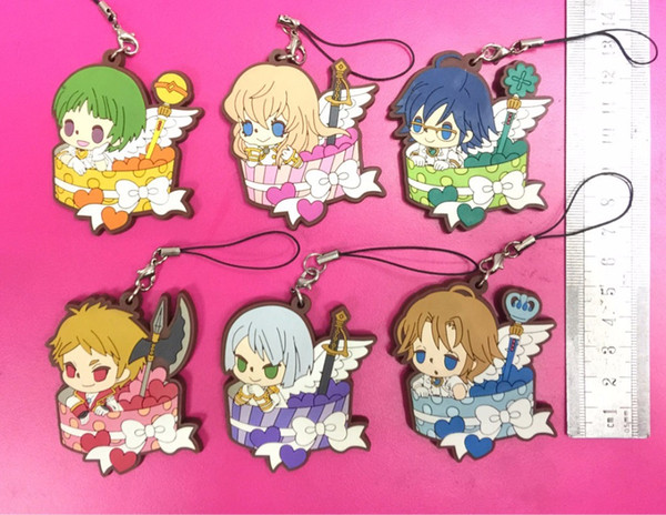 6pcs/lot Binan Koukou Chikyuu Bouei Bu Love! Love! Original Japanese anime figure rubber mobile phone charms/key chain/strap