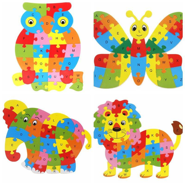 top popular Wooden Animals English 26 Alphabetic Letter Jigsaw Puzzle Children 3-5-6 years old Factory Price Wholesale Mix order 2 Set Or More 2019