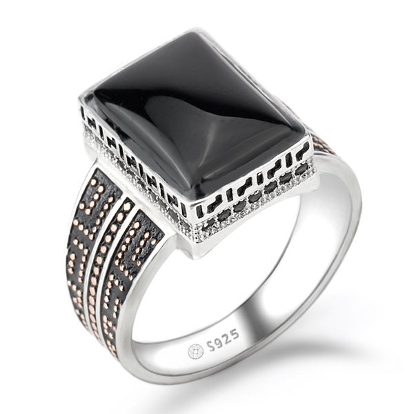 Real 925 Sterling Silver Men Ring Punk Geometric Rectangle Black Agate Stone Small Nano Stone Ring for Men Wedding Fine Jewelry