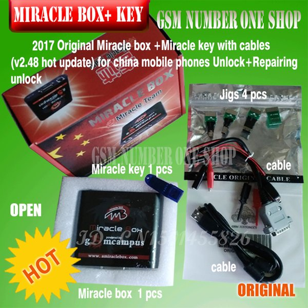 Original Miracle box +Miracle key with cables (2.38A hot update) for china mobile phones Unlock+Repairing unlock