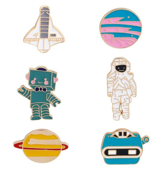2018 Enamel Brooches Pins Astronaut Robot Warfare Aircraft Space Lapel Pin Spaceman Tie Pin Gift Sci-Fi Jewelry Accessories Badge 90