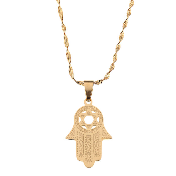 Stainless Steel Hexagram Pendant Necklace Jewelry Magen David Necklace Hamsa Hand Pendant Lucky Hand Palm Jewelry