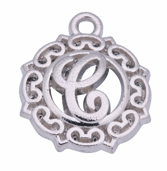 Rhodium Plated 26 Lowercase English Letter DIY Jewlery Findings Any Words Charms Necklaces Pendants