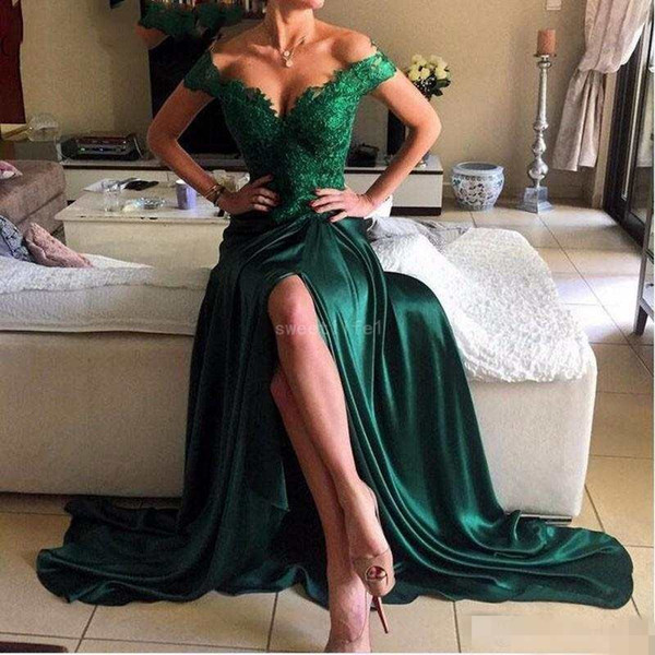 Emerald Green Evening Dresses 2019 Off the Shoulder Appliqued with Lace High Side Slit Long Backlss Prom Party Gowns