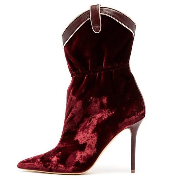 Mujeres terciopelo Elestic botines de gran tamaño 13 botas de moda punta estrecha Flock tela botines cortos zapatos de boca de tiburón