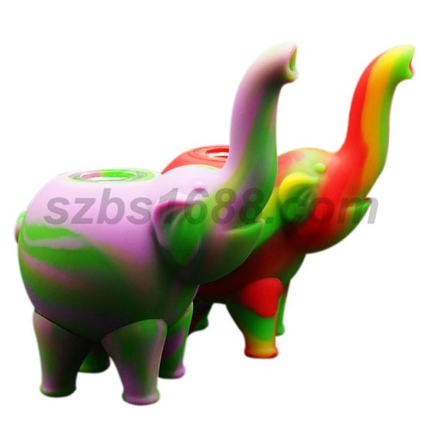 Hot sell elephant pattern mini bubbler Water Pipes multiple Silicone Oil Rigs bong Glass bowl smoking water pipe silicone bubble bongs rigs