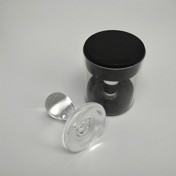 outil de cire en forme de timbre en verre pour collecter la forme de waterdrop de cire outil de dabber de stamper avec l'emballage de boîte en plastique pour le bong en verre de banger de quartz