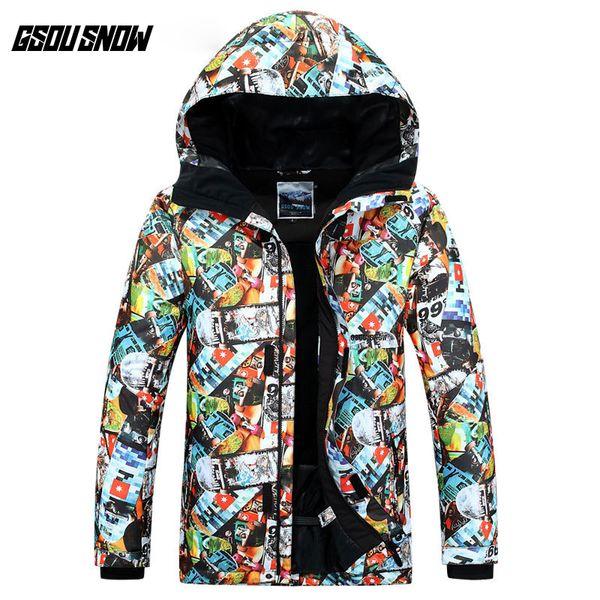 GSOU SNOW Men's Single Board Ski Suit Outdoor Windproof Waterproof Warm Wear-resistant Ski Jacket Snow Coat For Men Size XS-XL