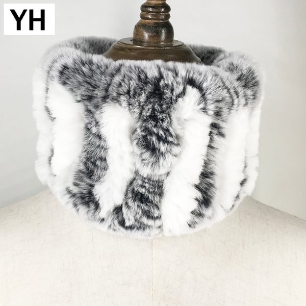 2018 Winter Women Handmade Stretch 100% Real Rex Fur Scarf Knit Genuine Rex Rabbit Fur Headbands Girls Natural Ring Scarves