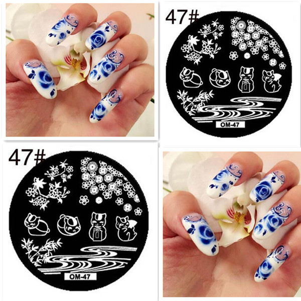 Rose Grass Round Pattern Diy Nail Art Stamp Template Rich Cats