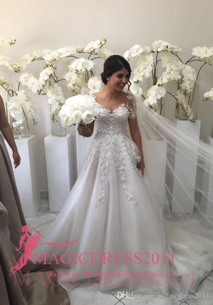 2018 Steven Khalil Berta Plus size Summer Collection Illusion Bodice Sheer Neck A-Line Wedding Dresses Short Sleeves Arabic Wedding Gown
