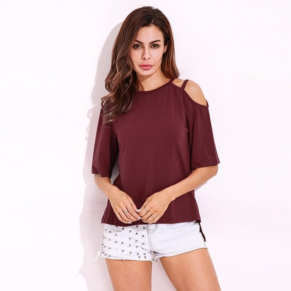 Basic Blouses 2018 Summer Women Shirt Solid Plain Casual Short Sleeve O-Neck Large Cold Shoulder Strappy Sexy Tee Tops