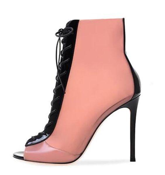 Peep toe зашнуровать высокий каблук розовый латекс пинетки румяна ПВХ и черный лакированная кожа ботильоны дамы летняя обувь женщины шпильки