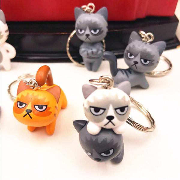 Grumpy Cat unhappy cats keychain Keyring Pendant pvc Figure toy Key Chain Cat Keychain Creative Cute Cartoon Doll Keyring Accessories For G