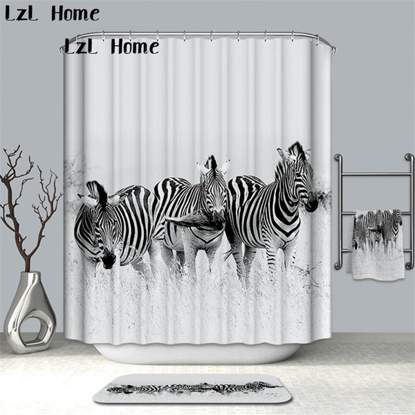 LzL Home Tiger Zebra Printed Shower Curtains Bath Products Bathroom Decor With Hooks Waterproof Bathroom Curtains High Quality