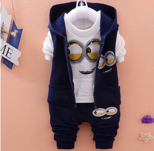 Children Clothes Sets Autumn Wear Baby Girls Boys Suits Cartoon Kids Coats Vest Pants 3 Pcs Casual Suits Infant Newborn Clothes