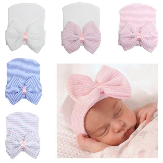 Newborn Big Hair bows knit hat Beanie hats Baby girl Beanies Cap Infants bonnet Striped 2019 European Spring Fall winter 0-3monthss