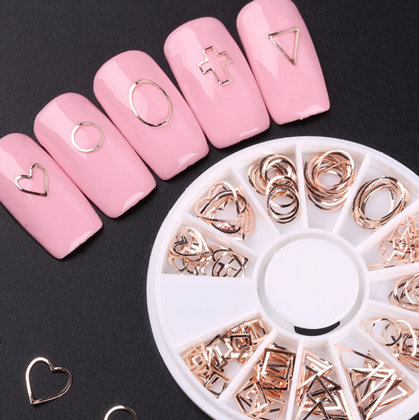 Nail Art Dekorationen Rose Gold Metall Dreieck Kreis Ornamente DIY Teile Nail Sticker Pad kostenloser Versand
