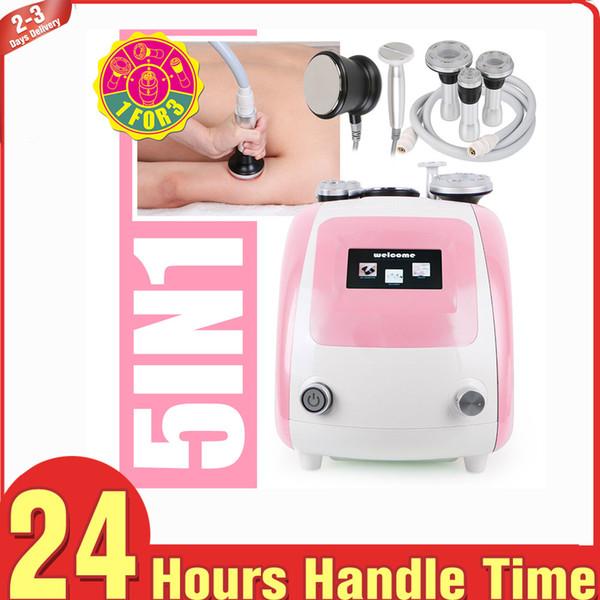 Pink Ultrasonic Slimming Fat Cavitation RF Bipolar Radio Frequency V Face Shape Equipment Skin Tightening Body Contouring Inch Loss Fat Loss