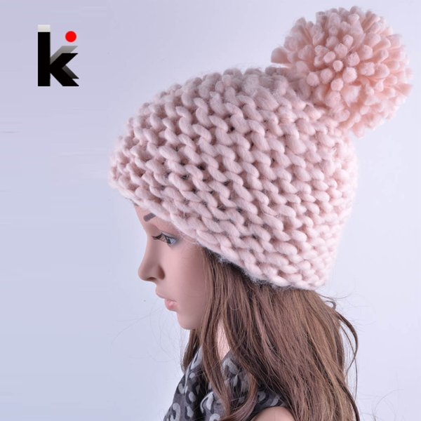 Winter hat for women Beanies new lovely Beanie girl harajuku caps hand-crocheted acrylic fiber wool Pompons ladies knit hats
