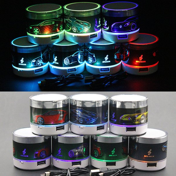 LED Mini Speaker Bluetooth Wireless Portable Speakers Stereo LED Car Pattern Loudspeaker Cool Fashion Soundbox Supports USB TF Card Player