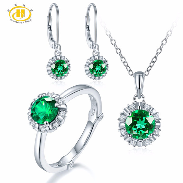 Hutang Natural May Birthstone Created Emerald Solid 925 Sterling Silver Ring Pendant Earrings Gemstone Jewelry Sets Presents