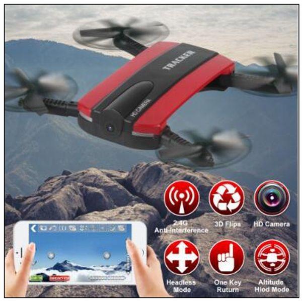 Neue Telefonsteuerung JXD523 Tracker Faltbare Mini RC Selfie Drohne mit Wifi FPV 720 P HD Kamera Höhe Halten Headless Mode CCA8708 10 stücke