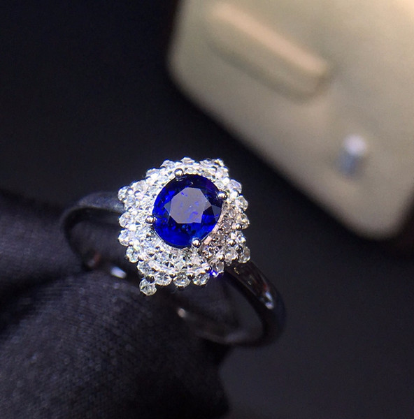 Fine Jewelry Real 18K White Gold 100% Natural 0.6 Blue Sapphire Gemstone 18k Gold Diamonds Stone Female Ring for Women Rings