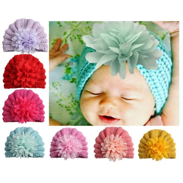 2018 Cute Cotton Baby Hat Flower Caps For New born Baby Boy Girl Beanie Hat Spring Autumn Winter Children's Hats 7 Colors