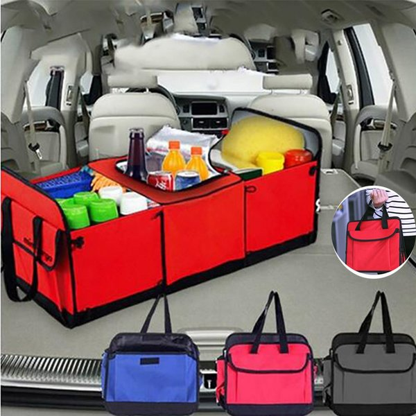 Foldable Vehicle Storage Bags Multi Compartment Car Truck Organizer Fabric Car Storage Basket Container With Cooler And Insulation HH7-1385