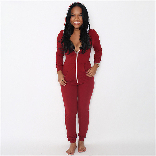 686381fed0b8 Autumn Women Jumpsuit Romper Zipper Hooded Sweatshirt Hoodies Bodycon  Trousers Solid Sexy One Piece Female Tracksuits Clothing