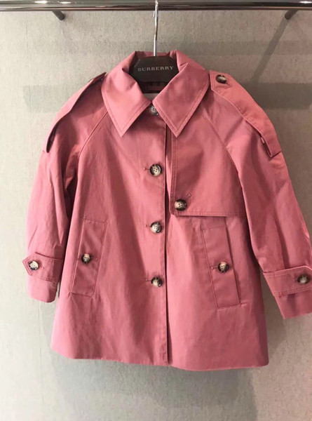 best selling long solid 2018 autumn jackets girls fashion long sleeve cotton tench coats kids clothing children outerwear jacket tops