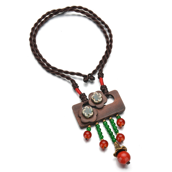 Boho Mixed Styles Ethnic Tribal Faux Vintage Wood /Beads Pendants Long Tassel Retro Ethnic Beaded Necklace Sweater Chains
