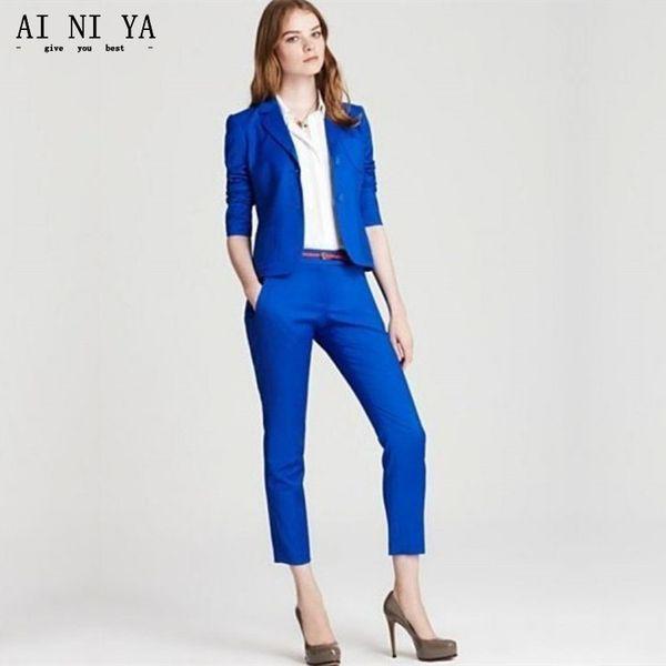 Neues Design Royal Blue 2 Stück Büroarbeit Frauen Anzüge Slim Fit Damen Elegante Hose Anzüge Weibliche Hosen