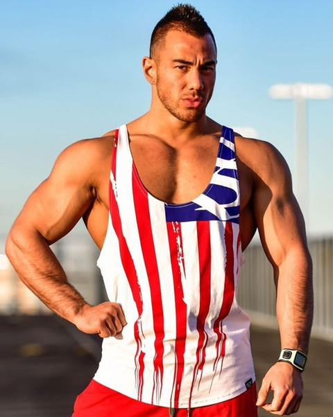 Fashion Flag Printed Men's Tank Vest Cotton Sport Short Top Muscle Man Sleeveless O-Neck Vest Tank For Gym Sport
