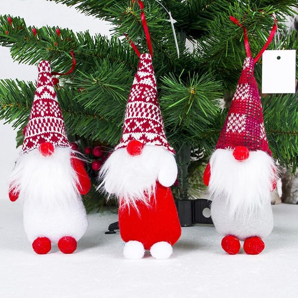 Christmas Tree Hanger Christmas Ornaments Santa Claus with Face Covered Pendant Doll Pendant