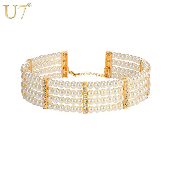 whole saleU7 Simulated Pearl Choker Necklace Women Wedding Jewelry Gift Rhinestone Beads Necklaces N1090