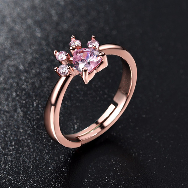 Cute Bear Paw Cat Claw Opening Adjustable Ring Rose Gold Rings for Women Romantic Wedding Pink Crystal CZ Love Gifts Jewelry