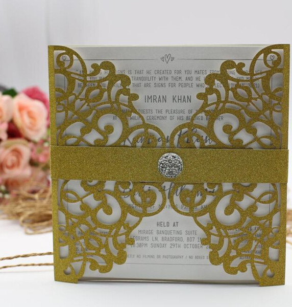 Wedding Invitation Cards New Arrival Personalized Laser Cut Flower Navy Blue Hollow Party Card Printable With Ribbon Envelope