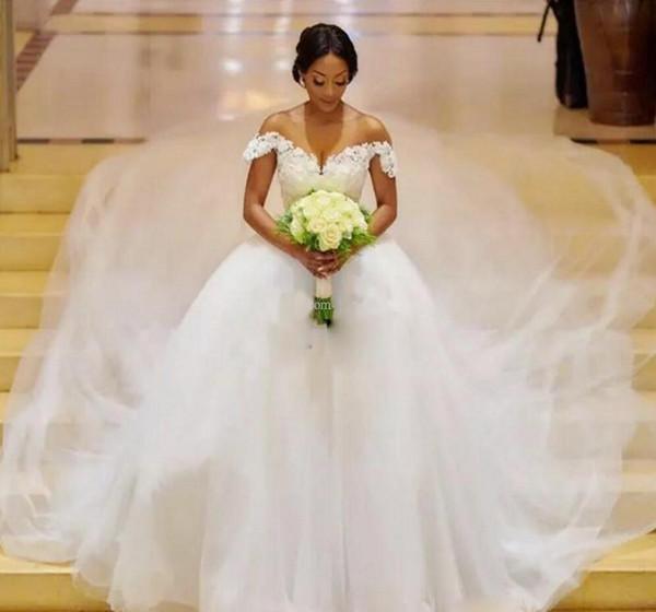 Vestidos Illusion Neck Appliques A Line Wedding Dresses 2019 Black Girls African Wedding Bridal Gowns Plus Size Chapel Train Custom Made